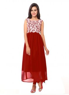 Buy Red Georgette Long Embroidery Neck Semi-Stitched Kurti