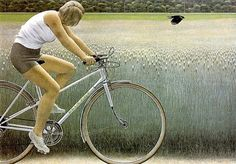 Alex Colville. Cyclist and Crow 1981 by lilikk, via Flickr