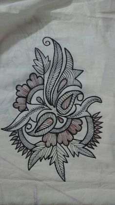 SANAA berrada's media statistics and analytics Floral Embroidery Patterns, Hand Embroidery Patterns, Embroidery Art, Embroidery Stitches, Machine Embroidery, Saree Painting, Fabric Painting, Mural Painting, Fabric Paint Designs