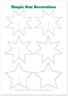 Simple Christmas Star Decorations - with free printable template and easy instructions Paper Christmas Decorations, Christmas Paper Crafts, Christmas Projects, Simple Christmas, Kids Christmas, Holiday Crafts, Christmas Ornaments, 3d Templates, Star Template
