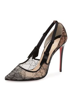 Hot+Jeanbi+Lace+100mm+Red+Sole+Pump,+Version+Black+by+Christian+Louboutin+at+Neiman+Marcus.