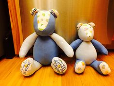 Newest size bear is 14 inches tall! He is 4 inches smaller that the bigger one!  They just need their eyes and nose!