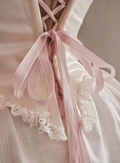 pale pink ribbons and lace