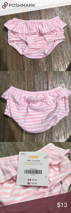 NWT Newborn Gymboree Outfit 0-3 months Brand New with tags Newborn Ruffle Diaper Cover. Pink/white stripes with ruffles. They seem to run a little big for Newborn (in my opinion) and 0-3 months white onsie (fits 8-12lbs) Gymboree Bottoms Casual