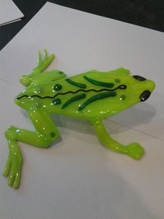 Green Glass Frog Sculpture by PurpleCloudStudio on Etsy