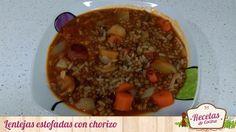Lentejas estofadas con chorizo -  Lentejas estofadas con chorizo, una fuente de energía indudable que te saciará. Patatas, zanahorias, ajo, chorizo, pimiento, cebolla, arroz y lentejas son los ingredientes básicos para preparar este plato que gusta a muchos, y que odia otros.    Lentejas estofadas con chorizo  Recipe Type: Le... - http://www.lasrecetascocina.com/lentejas-estofadas-con-chorizo/