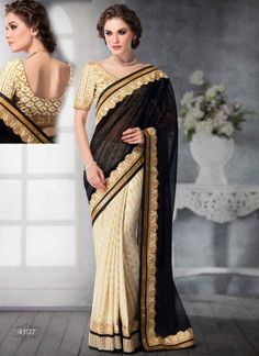 Dazzling Black And Cream Banarasi Booti Jacquard Party Wear Sarees