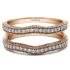 074 Ct Twt Contour Ring Guard with Millgrained Edges and Filigree Cut Out Design set with Man Made Diamonds GHVS2SI1 34 CT with Diamonds GHVS2SI1 in 14k Rose Gold 074 ct twt * Read more at the image link.-It is an affiliate link to Amazon. #Jewelry