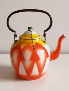 antique art deco yugoslavia enamel ware tea pot by vintagehall