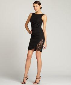 Aijek black 'Last Kiss' lace insert shift dress | BLUEFLY up to 70% off designer brands