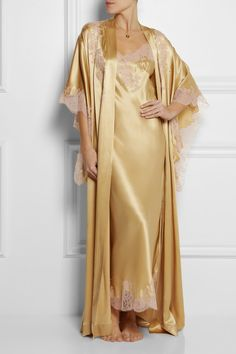 Carine Gilson|Lace-trimmed silk-satin mousseliné robe|NET-A-PORTER.COM