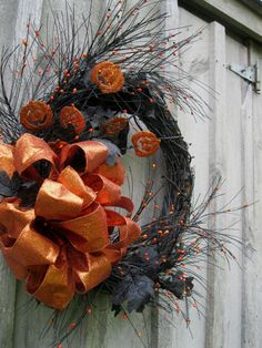 Halloween Wreath Pumpkin Decor Black Leaves by NewEnglandWreath