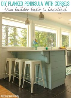 Update a plain kitchen island or peninsula in a weekend or less with this easy DIY planked technique and pretty corbels. Plus, a tip for installing corbels when your countertop is already in place.