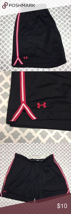 Under Armour Mesh Athletic Running Shorts Women's size medium hot pink, white and black Under Armour Mesh Athletic Running Shorts. These run bigger than the Nike shorts. Fits Size 13 best. Very good condition - just a couple of barely noticeable snags on the bottom. Under Armour Shorts