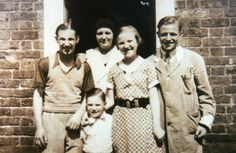 (c) Tony Farrington - Alan Rickman's paternal grandmother, Mary Kathleen Collins Rickman (second from left; b. 1886 - d. 1940) with Alan's aunt and uncles, Patrick D.J. ''Paddy'' (b. 1919 - d. 1 Jan. 1945 as a World War II Rifleman for the King's Royal Rifle Corps), Francis Leonard ''Frankie'' (b. 1930 - 1993), Mary Kathleen ''Kathy'' (married name Tyson; b. 1923 - d. 1985) and Joseph Thomas P. ''Joey'' (b. 1920 - d. 1973) outside their home in Rylston Road, Fulham, c. 1930s  (From my…