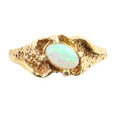 14k Yellow Gold Mini Size Child or Adult Pinky Ring Created Blue CZ Abstract Design