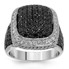 10K White Gold Mens Diamond Ring with Black Diamonds 6.50 Ctw: Avianne & Co: Jewelry