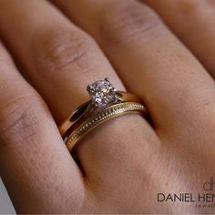 Our Classic Diamond Solitaire Engagement Ring. Seen Here Crafted In 18ct Yellow Gold With Our New Vintage Wedding Band. www.dhjewellery.com 188 Rose Street, Edinburgh