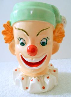 a50723da6e0 Vintage 1958 Napco Clown Face Head Vase Green Hat Red Nose Polka Dot Collar  Clown Faces