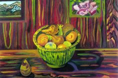 """ADRIENNE KYROS, """"Still Life with Fruit,"""" Watercolor, 33"""" x 40"""""""