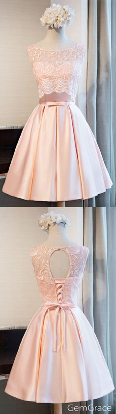 Cute pink short dress for homecoming, prom or reception parties..
