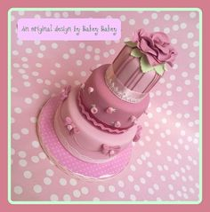 Romance and roses mini three tier cake by Bakey Bakey, via Flickr