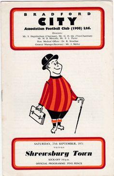 Vintage Football (soccer) Programme - Bradford City v Shrewsbury Town, 1970/71 season by DakotabooVintage on Etsy #football #soccer #bradford