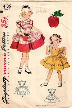 1950s Simplicity 4136 Vintage Sewing Pattern Toddler Girls