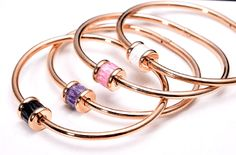 Gorgeous Finley Rose Gold Bangle Bracelet with Crystal - Pearl + Creek  #inspired #bangle #bracelet #blackcrystal #rosegoldbracelet #pearlandcreek #fashionbracelet