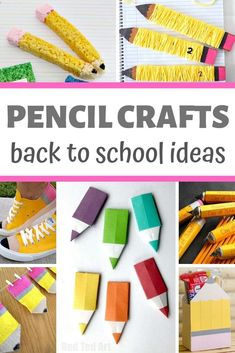 Best Pencil Crafts for Back to School - super fun PENCIL themed crafts for kids to make for Back To Pencil Topper Crafts, Pencil Crafts, Pencil Toppers, Greeting Cards For Teachers, Pop Up Greeting Cards, Back To School Crafts, Crafts For Kids To Make, Kids Crafts, Snail Craft