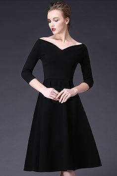 $69.99 Black V Neck 3/4 Sleeves Pleated Dressproducts_id:(1000012980 or 1000012521 or 1000012711 or 1000012452)