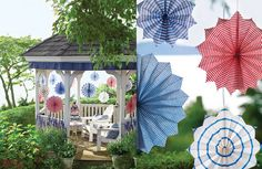 July decorating: gazebo with box-pleated bunting and hanging star medallions as seen in Martha Stewart. Fourth Of July Food, 4th Of July Celebration, 4th Of July Party, July 4th, Gazebo Decorations, 4th Of July Decorations, Diy Party Decorations, Holiday Fun, Holiday Decor