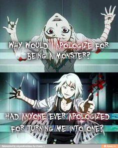 trad: Pourquoi devrai-je m'excuser d'être un monstre? Quelqu'un s'est il excusé de m'avoir transformé en monstre?