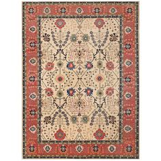 Herat Oriental Afghan Hand-knotted Vegetable Dye Oushak Wool Rug (10' x 13'7) (Handmade Oushak Wool Rug), Ivory