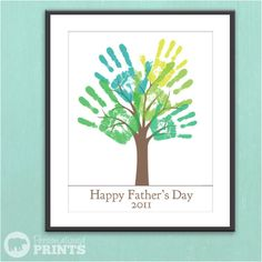 Office. Use ready canvas board and paint your own tree and branches. Add family members' hand prints. Skip Father's Day copy at the bottom.