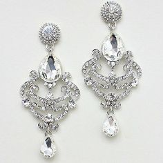 HIGH END CHANDELIER STUNNING CLEAR CRYSTAL EARRINGS PROM WEDDING FORMAL JEWELRY #Unbranded #Chandelier