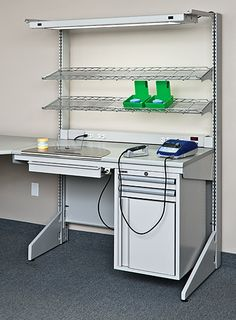 dental lab cabinets in modern home design style with dental lab cabinets Metal Tool Box, Dental Technician, Dental Laboratory, Diy Tech, Dental Office Design, Clinic Design, Mobile Shop, Industrial Table, Metal Furniture
