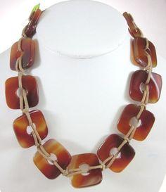 NEW CHLOE LACLAU Brown Square Glass Beaded Tan Suede Strand Necklace at www.ShopLindasStuff.com