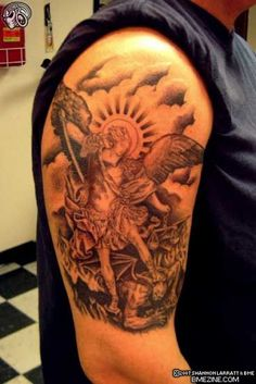 Michael the Archangel. First tat but gonna have way more detail & design