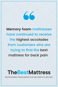 Why is memory foam one of the best when it comes to back pain? Best Mattress, Mattress Brands, Things To Come, Good Things, Back Pain, Memory Foam