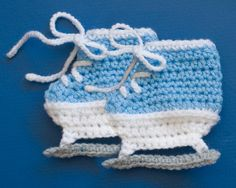 HOCKEY SKATE BOOTIES Baby Soft Crocheted Ice Skates by Grandmabilt