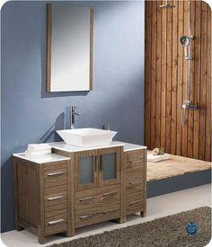Website Picture Gallery Fresca Torino single Inch Walnut Bathroom Vanity with Vessel Sink