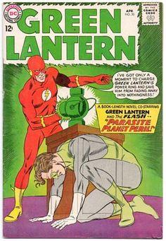 Green Lantern # 20 , April 1963 , DC Comics Vol 2 the cover : Green Lantern [ Hal Jordan ] ; the Flash [ Barry Allen ] Marvel Comics, Dc Comics Art, Garfield Comics, Silver Age Comics, Dc Comic Books, Comic Book Covers, Book Club Books, Book Art, Book Clubs