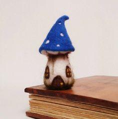 Needle Felted Fairy House. Blue Toadstool Fairy Cottage, Pixie House. Free Worldwide Shipping. by FeltbyLisa on Etsy