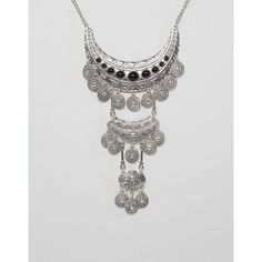 Ruby Rocks Statement Necklace (£19) ❤ liked on Polyvore featuring jewelry, necklaces, silver, chunky chain necklaces, coin chain necklace, adjustable chain necklace, silver tone necklace and bib statement necklace