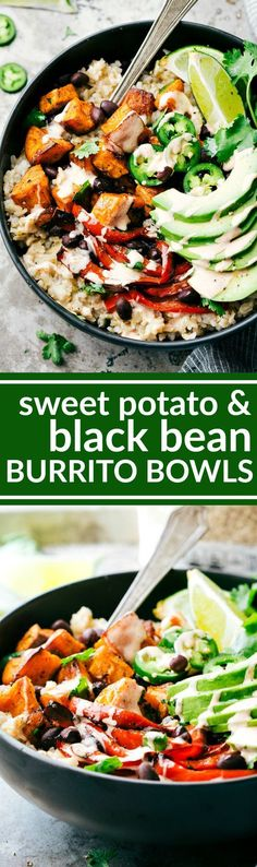 SWEET POTATO BURRITO BOWLS! A delicious and simple to make veggie black bean burrito bowls -- brown rice, seasoned & roasted sweet potatoes + bell peppers, black beans, and avocado with the most incredible chipotle lime sauce. via chelseasmessyapro...