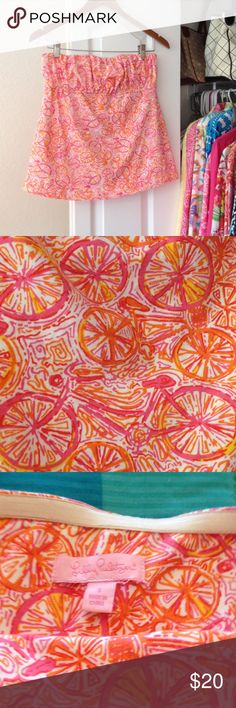 """Lilly Pulitzer strapless top Adorable EUC Size S top with orange, pink and yellow bicycles with white background. Armpit to armpit 14"""" with elastic for quite a bit of extra width. 92% cotton 8% spandex. Very cute Lilly Pulitzer Tops Tank Tops"""