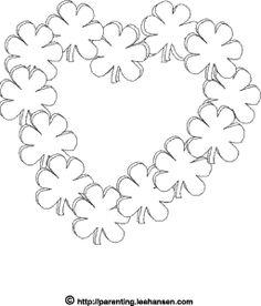 Irish romance, #shamrock heart #coloring page