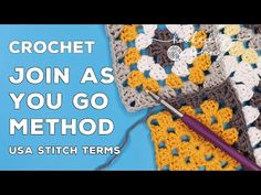 """Learn how to do the super simple """"Join As You Go"""" Method - great for beginners and is the easiest and most secure way to join your crochet squares. This meth. Joining Granny Squares, Easy Granny Square, Sunburst Granny Square, Granny Square Projects, Crochet Granny Square Afghan, Granny Granny, Crochet Cushions, Crochet Blankets, Crochet Pillow"""