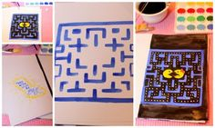 diy making a Pac-Man birthday card for 80s theme 30th birthday